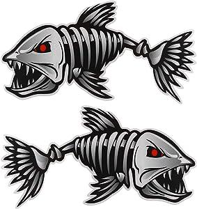 VORCOOL 2PCS Car Sticker Fish Bones Vinyl Skeleton Decal Sticker Graphics for Car Decoration Car Fishing Boat Kayak