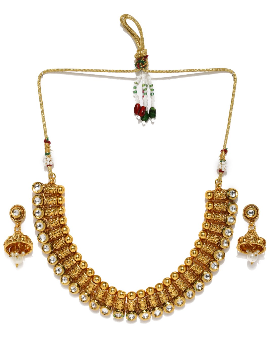Rubans Handcrafted Gold Plated Traditional Indian Jewelry Set Bollywood Ethnic Wedding Bridal Stone and Pearl Statement Necklace Set for Women