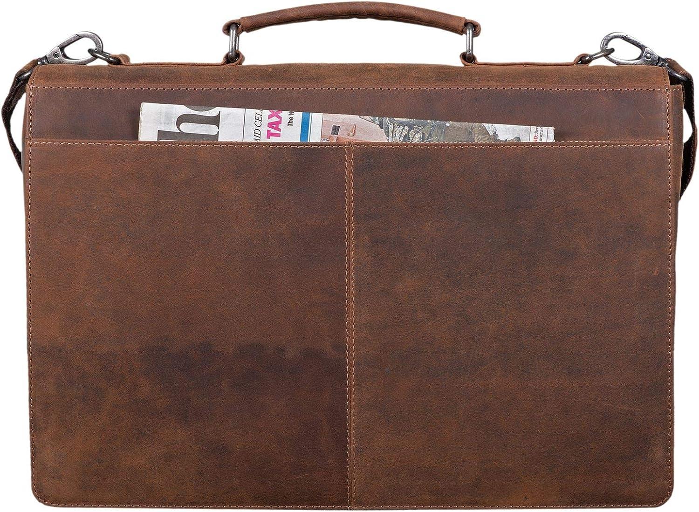 STILORD Jonathan /Él/égante Serviette au Cuir V/éritable Sac daffaires Vintage Classique Sac /à Bandouli/ère Porte-Documents Couleur:Brandy Marron
