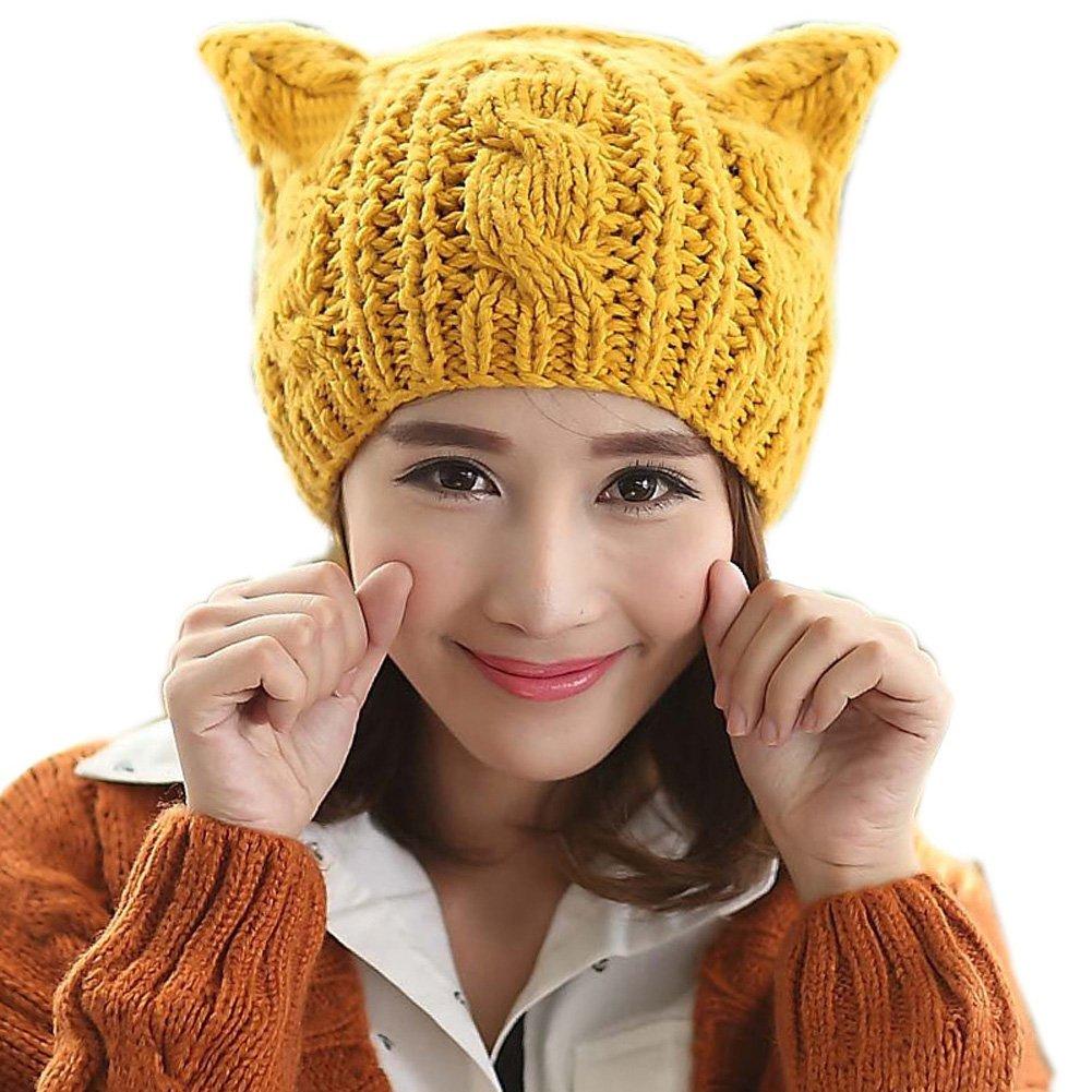 TININNA Otoño Invierno caliente linda hecha punto de gato orejas Reciente Slouchy Gorra Sombrero Niñ...