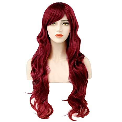 Discoball® Peluca para mujer, 70 cm, color rojo oscuro, larga, ondulada