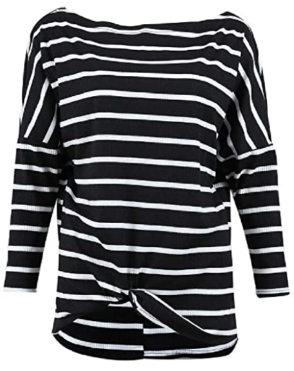 79e3df59bc Wilngo Womens Casual Crewneck Striped Color Block Twist Knot Long Sleeve  Shirt Top Blouse at Amazon Women's Clothing store: