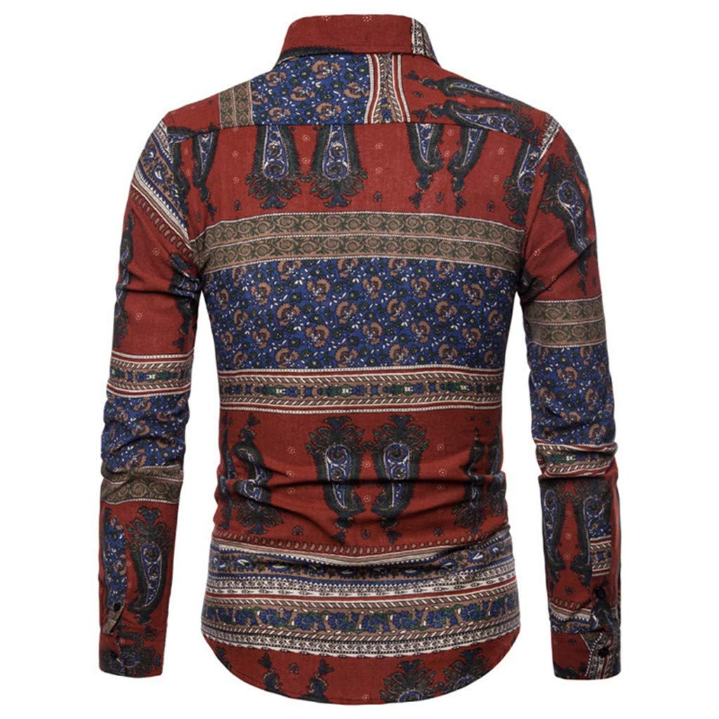 Mens Long Sleeve Shirts Vintage Ethnic Printed Turn Down Collar Loose Casual Beach Holiday Shirts by Cianjue