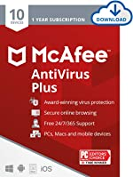 McAfee AntiVirus Protection Plus 2021, 10 Device, Internet Security Software, 1