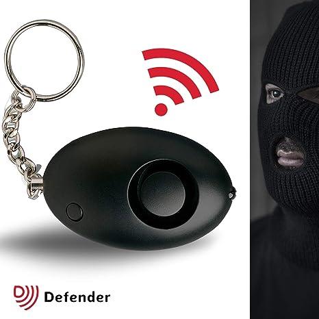 Defender - Alarma de ataque personal Cooper de 130 dBs aprobada por la policía, con linterna y de color negro