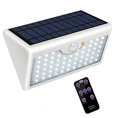 5 Modes Outdoor Solar Wall Light with Remote Control, Super Bright 60 LED Wireless Motion Detector Security Lamp 1300LM Waterproof for Wall, Garage, Garden, Entrance (White Shell, Warm White Light): Clothing