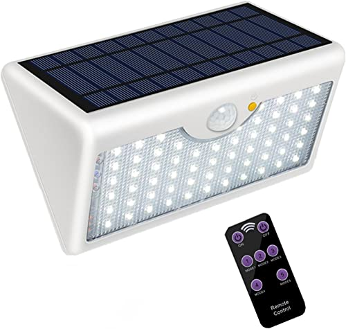5 Modes Outdoor Solar Wall Light with Remote Control, Super Bright 60 LED Wireless Motion Detector Security Lamp 1300LM Waterproof for Wall, Garage, Garden, Entrance White Shell, Warm White Light