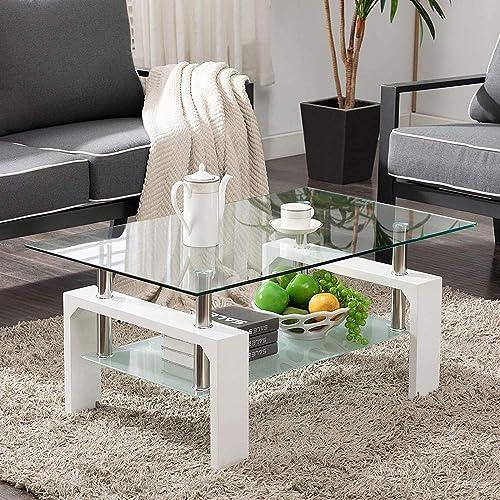 Paddie Glass Coffee Table Rectangle Modern