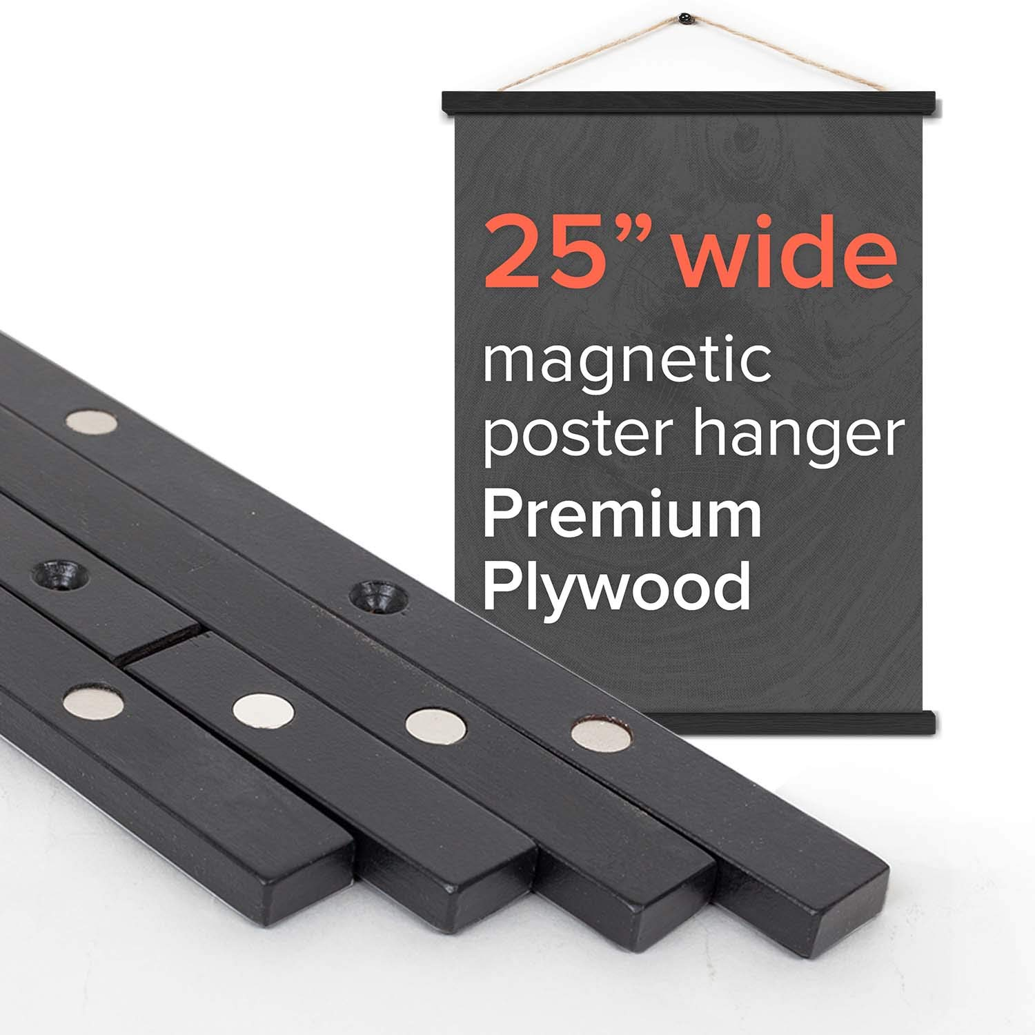 Stiicks 25'' Wide Magnetic Poster Frame Hanger in Black - Premium Plywood and Magnets Strong Enough to Hang Any Length
