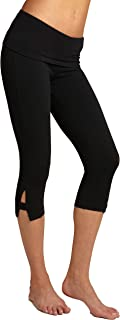 product image for Hard Tail Side Slinger Rolldown Cropped Yoga Pants, S, Black