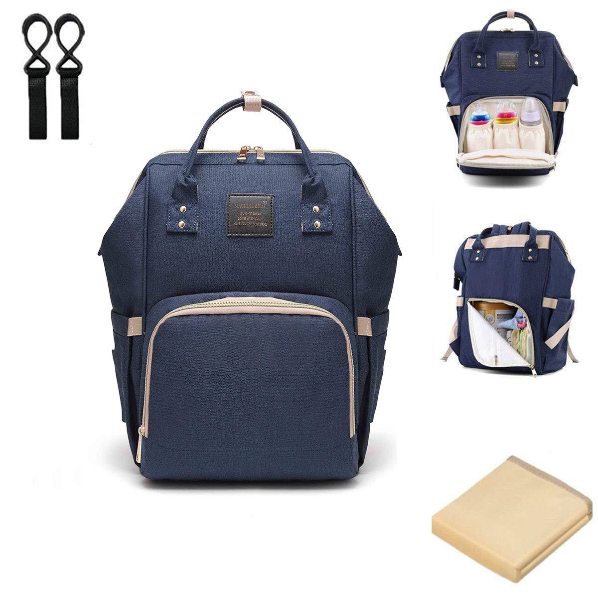 Blau Baby Wickelrucksack Wickeltasche mit Wickelunterlage Multifunktional Segeltuch Gro/ße Kapazit/ät Babytasche Kein Formaldehyd Reisetasche f/ür Unterwegs