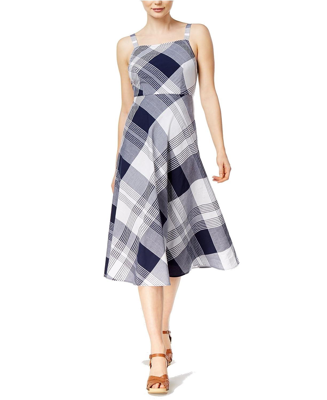 Maison Jules Women's Plaid Midi Dress bluee Notte Combo XXS