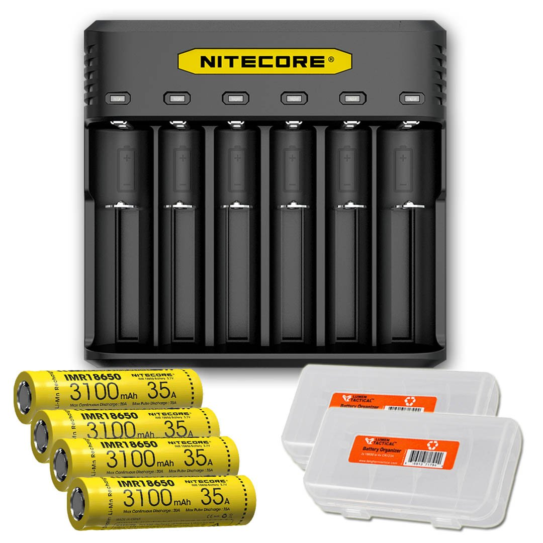 NITECORE Q6 Six Slot 2A Universal Li-ion/IMR Battery Charger for 18650,16340, RCR123A, 14500, 18350 with 4X IMR 3100mAH Rechargeable Batteries and LumenTac Organizer
