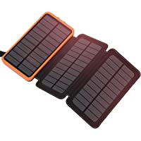 Solar Charger 24000mAh FEELLE Portable Solar Power Bank with 3 Foldable Solar Panels and Dual Outputs Phone Charger…