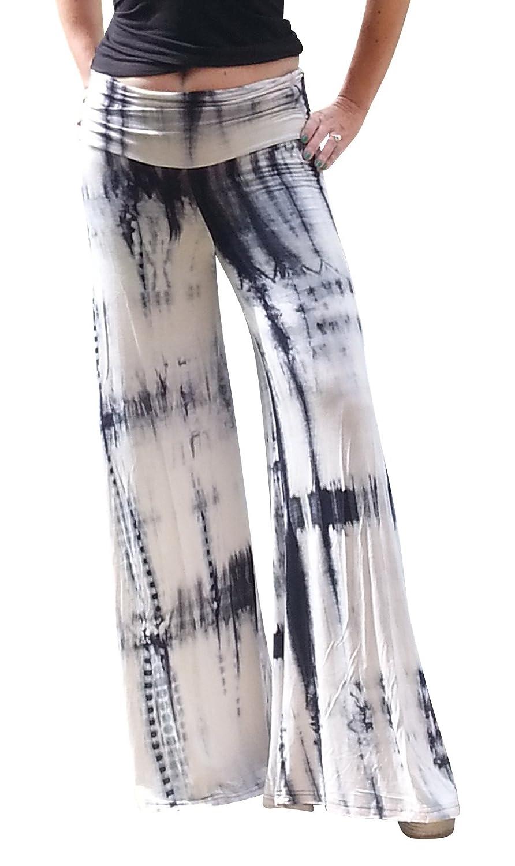 Maya Antonia Palazzo Pants Black-White Tie-Dye Wide Leg Extra Long