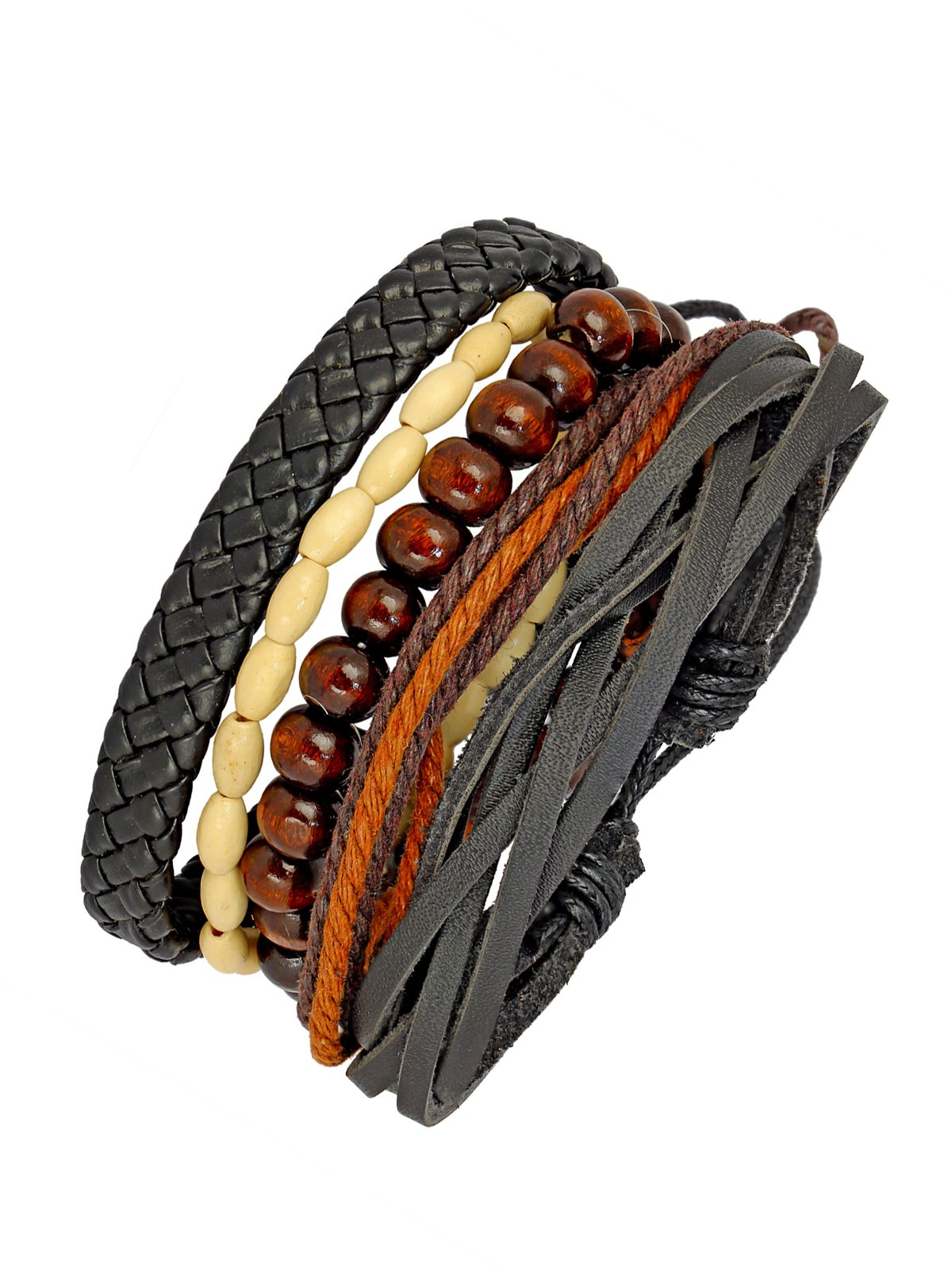 The Jewelbox Black Leather Coconut Beads Dyed Rope Casual Wrist Band Strand Bracelet Boys Men