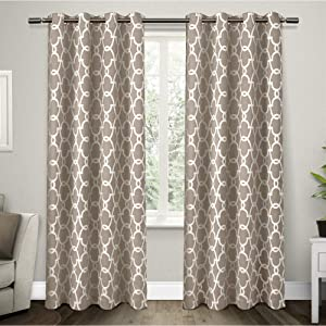 Exclusive Home Curtains Gates Sateen Blackout Thermal Window Curtain Panel Pair with Grommet Top, 52x84, Taupe, 2 Piece