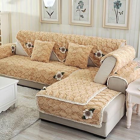 Amazon Com Diy Floral Plush Sofa Cover Anti Wrinkling