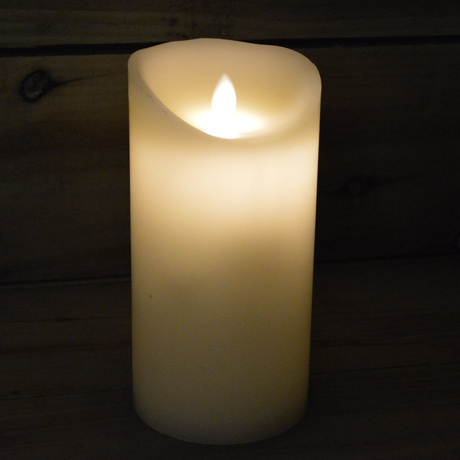 Battery Operated Real Wax Candle with Dancing Flame in Ivory 18cm - Christmas Premier