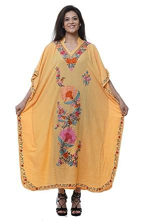 fcb89be807b9f Odishabazaar Crushed Cotton Kashmiri Long Kaftan with Ari Hand-Embroidered  (color-600)