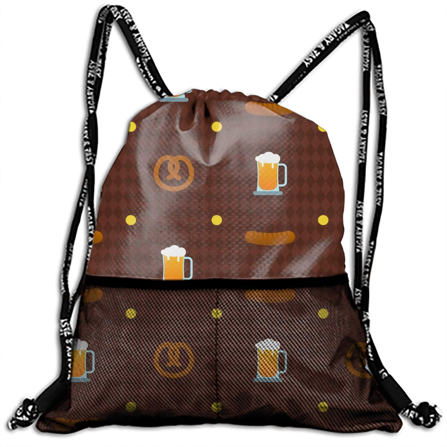 1 Pieces Drawstring Backpack Sport Bag Beer Pattern Cinch Tote Travel Rucksack for Traveling and Storage 10 Patterns