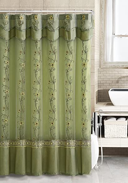Two Layered Embroidered Fabric Shower Curtain With Attached Valance Sage