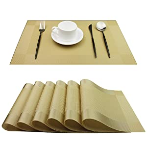 pigchcy Placemats,Heat-Resistant Non-Slip Placemats Easy Wipe Clean Table Mats Woven Vinyl Placemats for Dining Table (Set of 6, Gold)