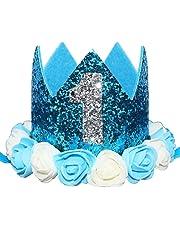 Glitter 1 2 1st 3 Birthday Princess Flower Floral Crown Tiara Cake Smash Photo