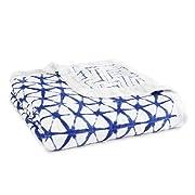aden + anais Silky Soft Dream Blanket   100% Viscose Bamboo Muslin Baby Blankets for Girls & Boys   Ideal Newborn Nursery & Crib Blanket   Unisex Toddler & Infant Boutique Bedding, Indigo Shibori Blue