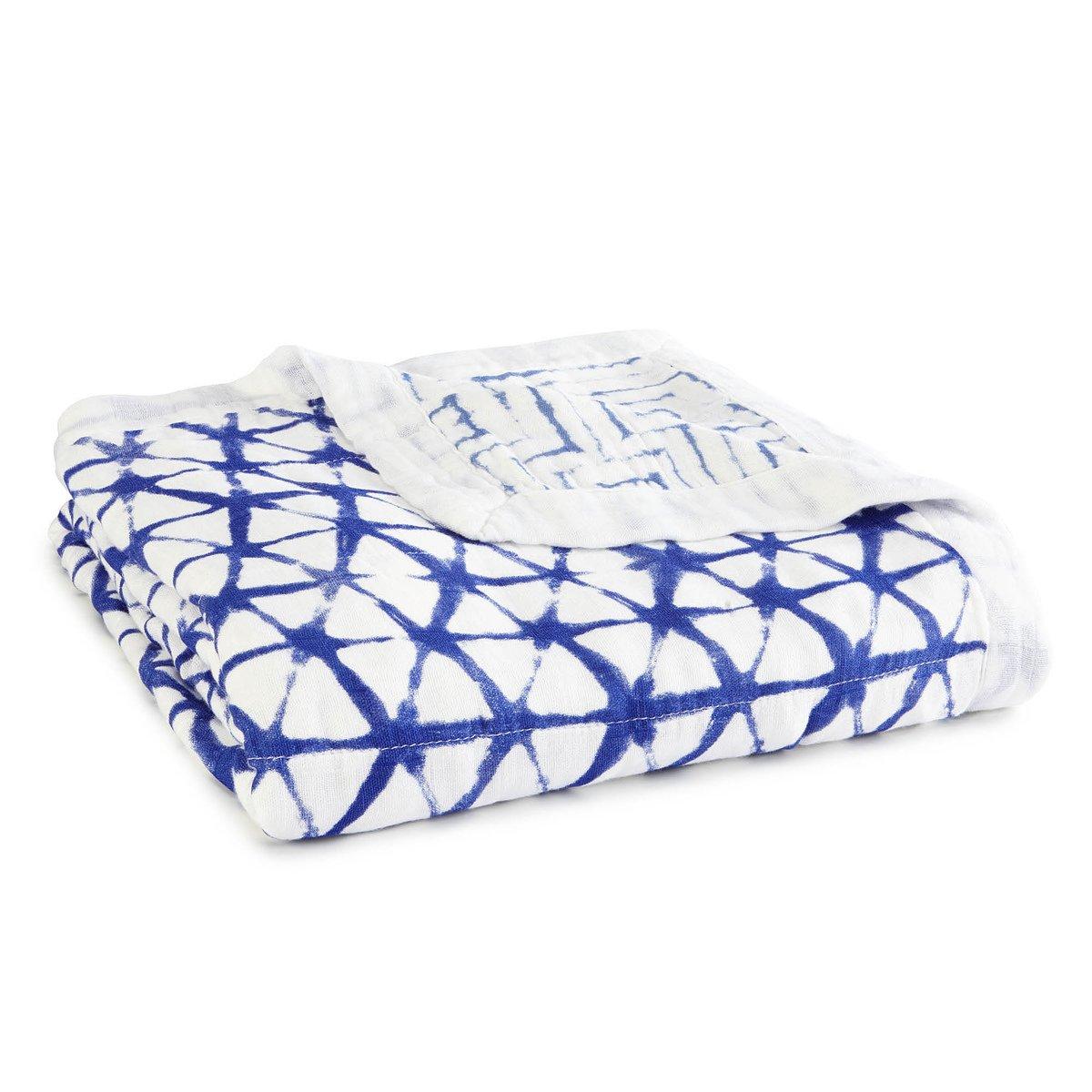 aden + anais Silky Soft Dream Blanket; 100% Viscose Bamboo Muslin; 4 Layer Lightweight and Breathable; 47 X 47 inch; Indigo Shibori - Blue