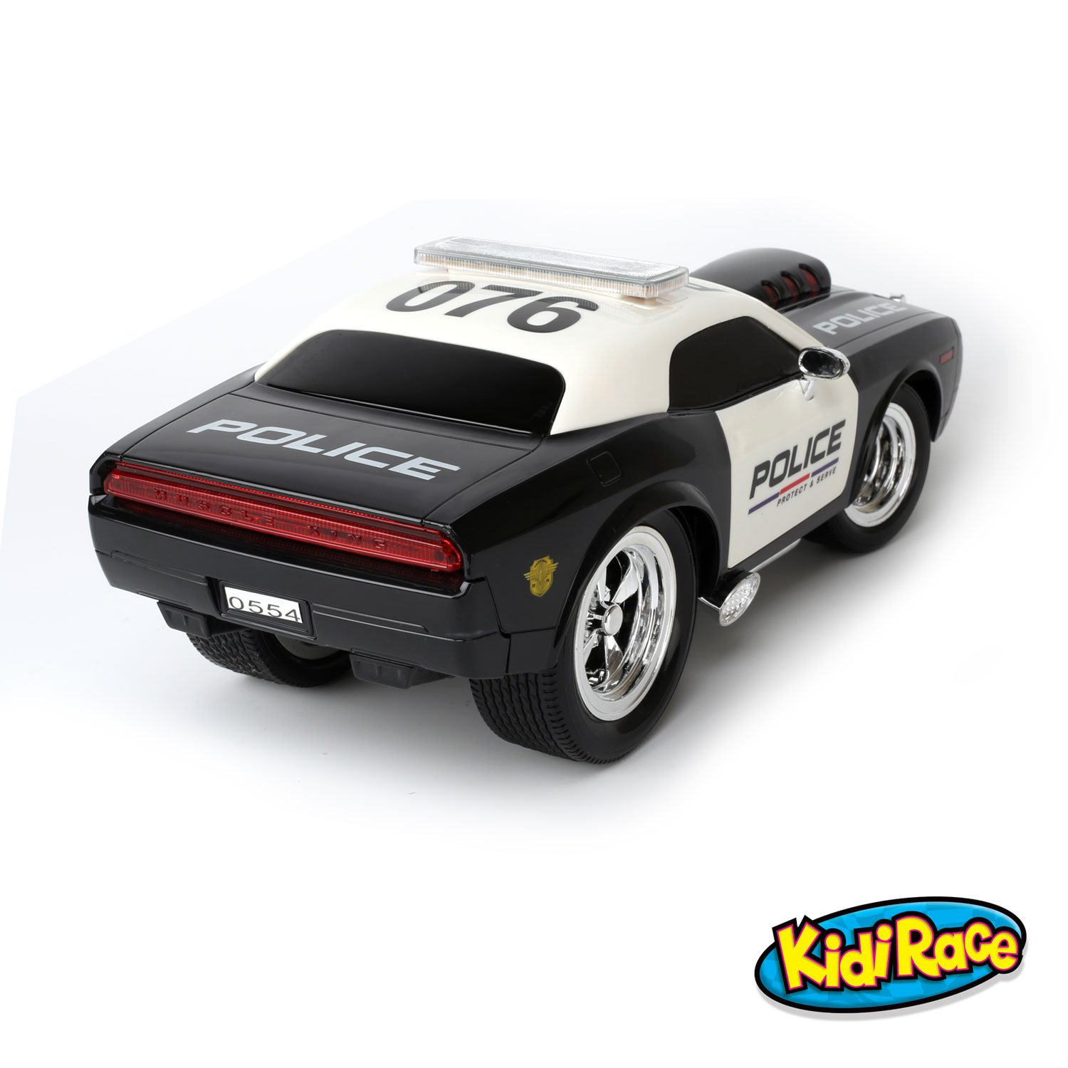 kidirace rc remote control police car for kids durable