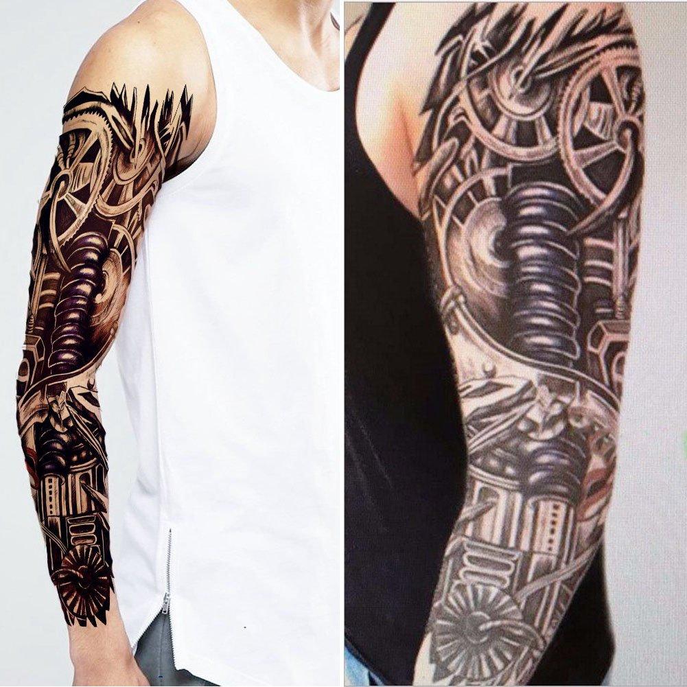 SpringPear 2X Etiqueta Engomada Impermeable Temporal del Tatuaje del Brazo Mecánico para Piernas Brazos (2 Piezas QC-598): Amazon.es: Deportes y aire libre