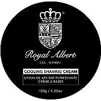 Royal Albert - Crema de Rasurar Refrescante - Crema de Afeitado con Mentol - Cooling Shave Cream - Libre de Crueldad Animal - Libre de Sulfatos y Parabenos - Para Hombres - Crema de Afeitar - Navaja o Rastrillo - Alta Calidad - Barbero (120 gr)