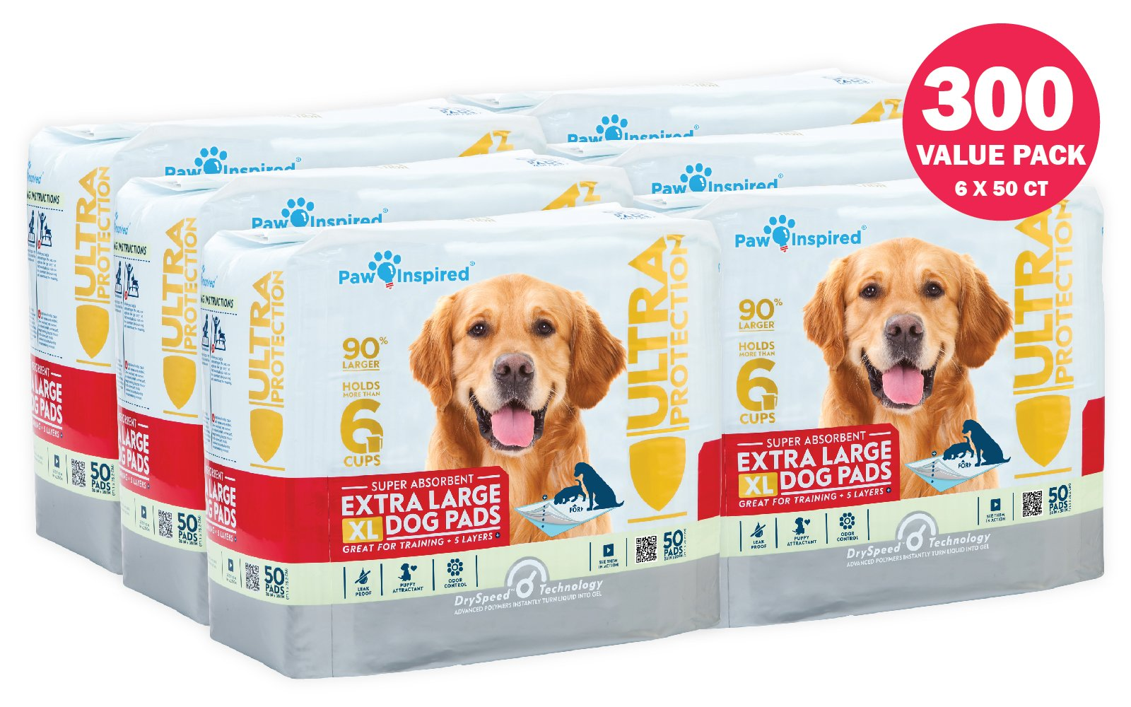Paw Inspired Ultra Protection XL Extra Large Puppy Training Pads (Original XL Pads, 300 CT)