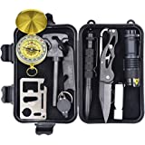 Outdoor Survival Kit 10 in 1, Teaker Multi Professional Emergency Survival Gear Kits Survival Tools for Traveling Hiking Climbing Hunting Camping