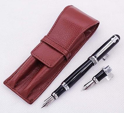 Funda de piel Duke para pluma estilográfica de doble plumín. Color marrón y negro, color Bolígrafo negro + estuche de café.: Amazon.es: Oficina y papelería