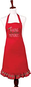 C&F Home Baking Christmas Memories Xmas Holiday Baking Cooking Apron Adult Apron Red