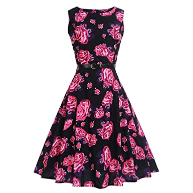 Women Dresses Godathe Women Vintage Printing Bodycon Sleeveless Halter Evening Party Prom Swing Dress S-