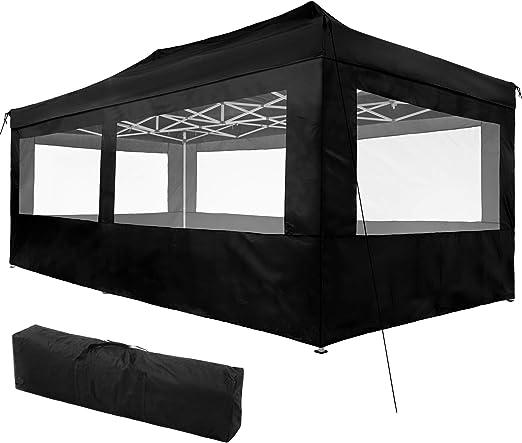 TecTake 800688 Carpa de Jardín 6 x 3m, Plegable, Aluminio, 100% Impermeable, 4 Paneles Laterales, con Cuerdas Tensoras, Piquetas y Bolsa (Negro | no. 403164): Amazon.es: Jardín