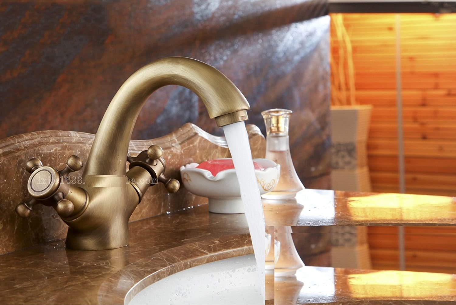 Lpophy Bathroom Sink Mixer Taps Faucet Bath Waterfall Cold and Hot Water Tap for Washroom Bathroom and Kitchen Antique Ceramic Copper Hot and Cold Mixer