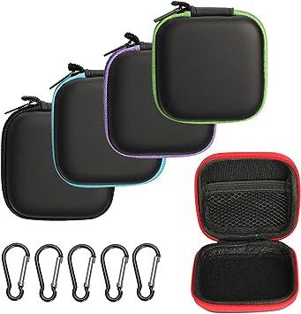 OOTSR 5pcs Estuches para Auriculares, EVA Estuche Cuadrado pequeño para Auricular / Auriculares / Cable / Disco U / Moneda / Objetos pequeños, con mosquetones: Amazon.es: Juguetes y juegos