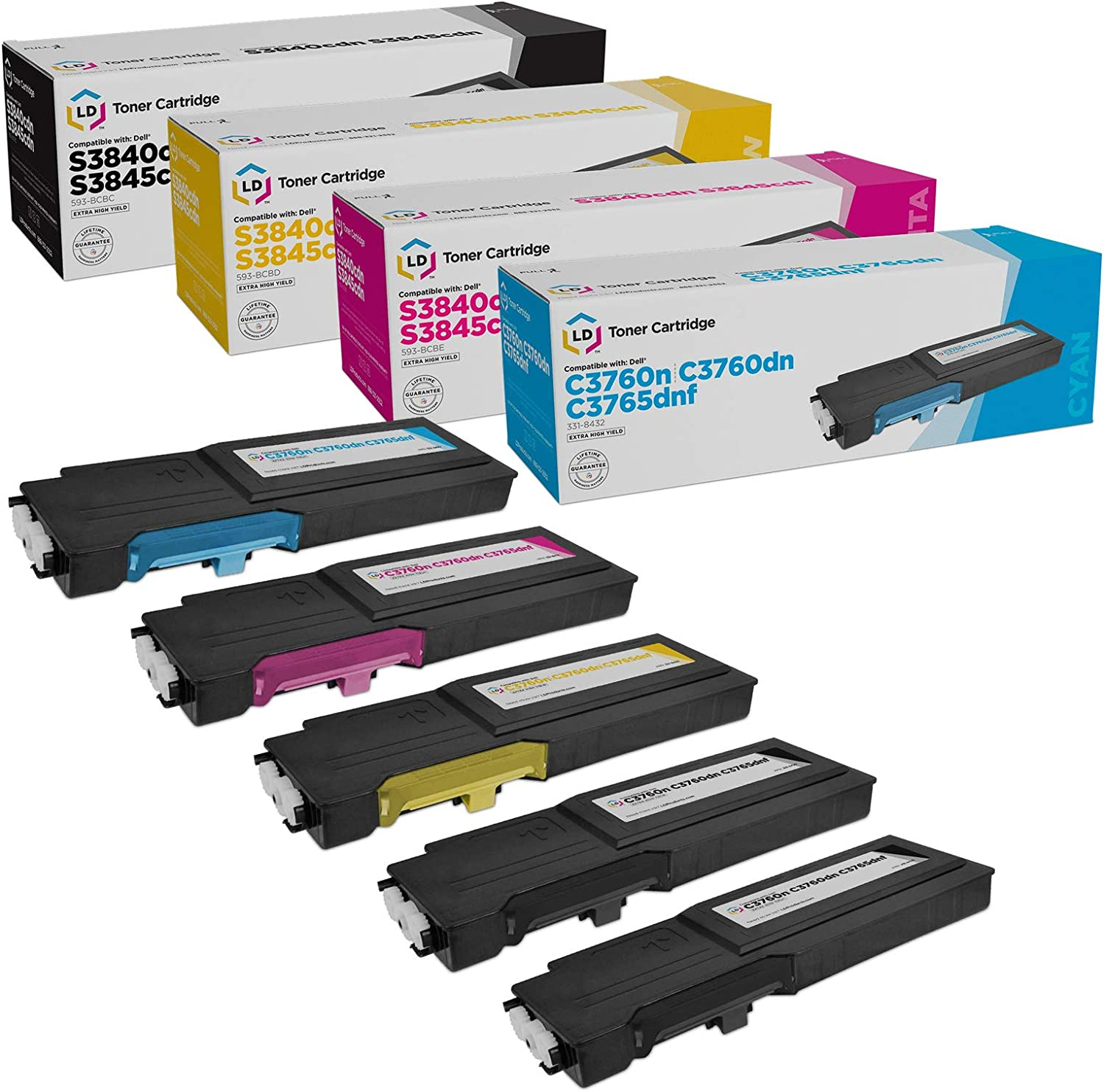 LD Compatible Toner Cartridge Replacement for Dell C3760 & C3765 Extra High Yield (2 Black, 1 Cyan, 1 Magenta, 1 Yellow, 5-Pack)