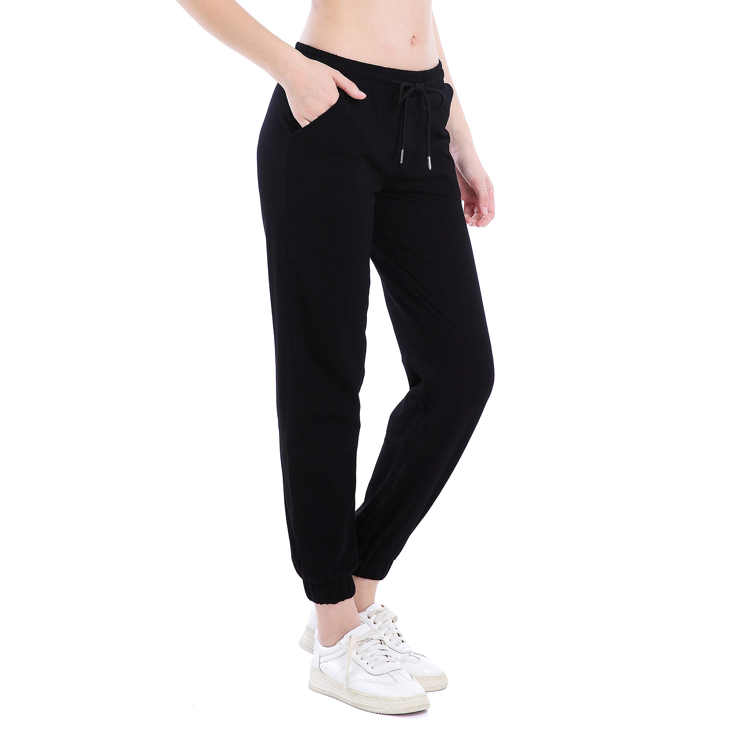Ferrieswheel Story Summer Sweatpants for Women Casual Spandex Lounge Joggers Pants Pockets Workout Black