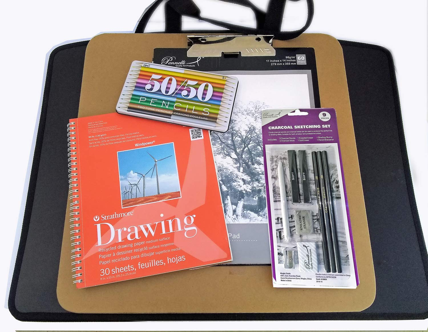 Artist Drawing Supplies Set w/Carry Board, Zipper Portfolio, Hardbound Sketchbook, Color Pencil Set, Graphite Pencil Set, Charcoal Drawing Set, Strathmore Pad, Large Sketch Pad, Instructions and More by Online Art Supplies