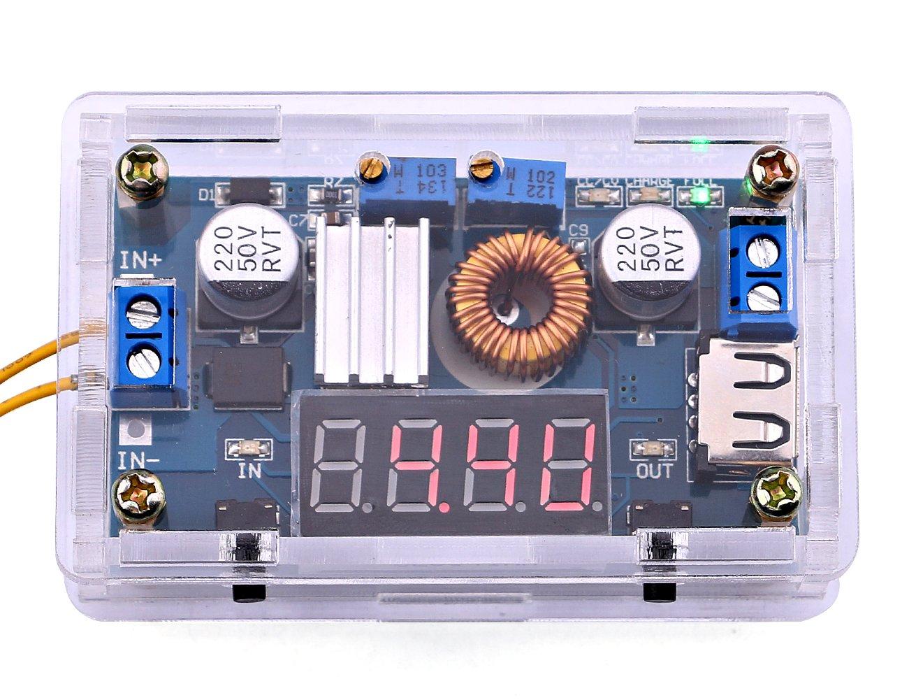 Yeeco Reguladores DC fuente de alimentación DC Buck convertidor de energía constante vatios y voltios amperios-transformador ajustable 5-36V a 1.25-32V bajada 5A 75W LED llevó el conductor voltímetro de salida de corriente de pa