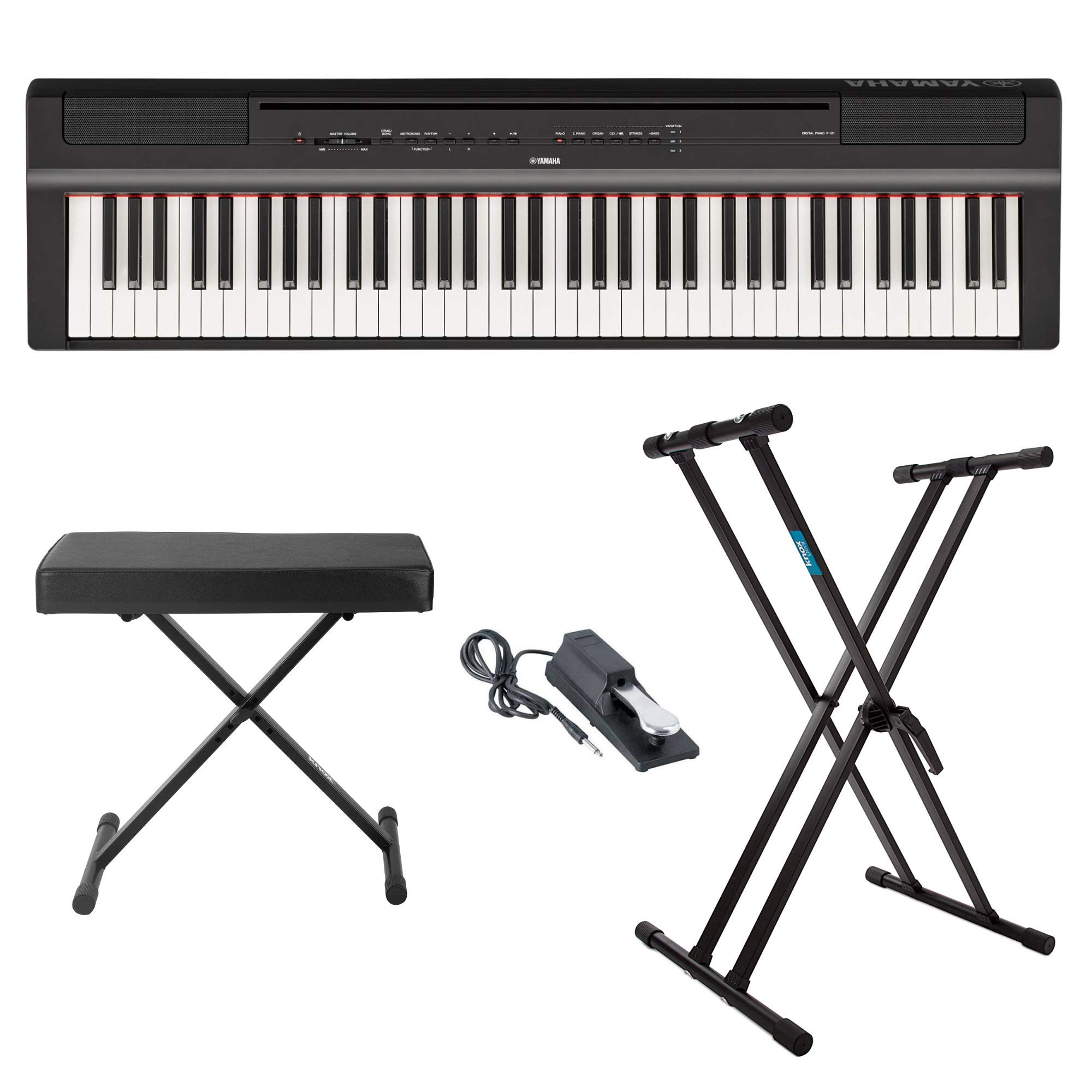 Yamaha P121B 73 Weighted Keys Digital Piano (Black) with Knox Gear Piano Bench, Stand and Sustain Pedal by YAMAHA