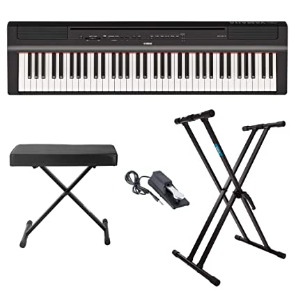 Amazon.com: Yamaha P121B 73 Weighted Keys Digital Piano (Black) with Knox Gear Piano Bench, Stand and Sustain Pedal: Musical Instruments