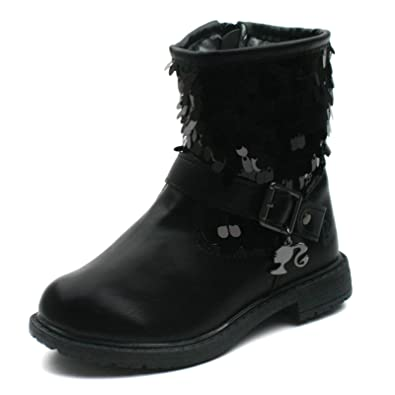Barbie,Kids Girls BA132 Mid Calf Boots with Side Zip Black Paillette
