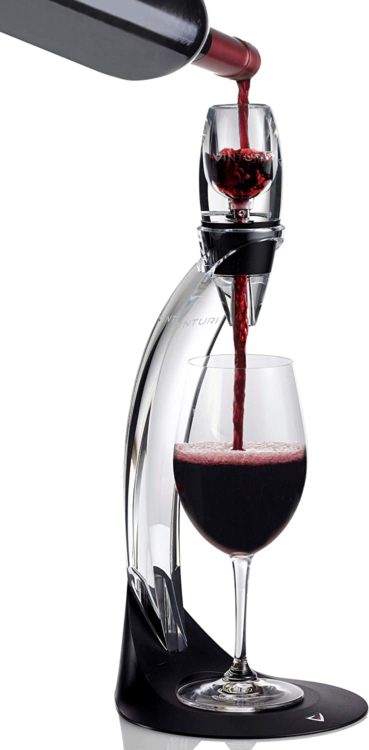 Vinturi V1071 Deluxe Essential Red Pourer and Decanter Tower Stand Set Easily and Conveniently Aerates Wine by the Bottle or Glass and Enhances Flavors with Smoother Finish, Black