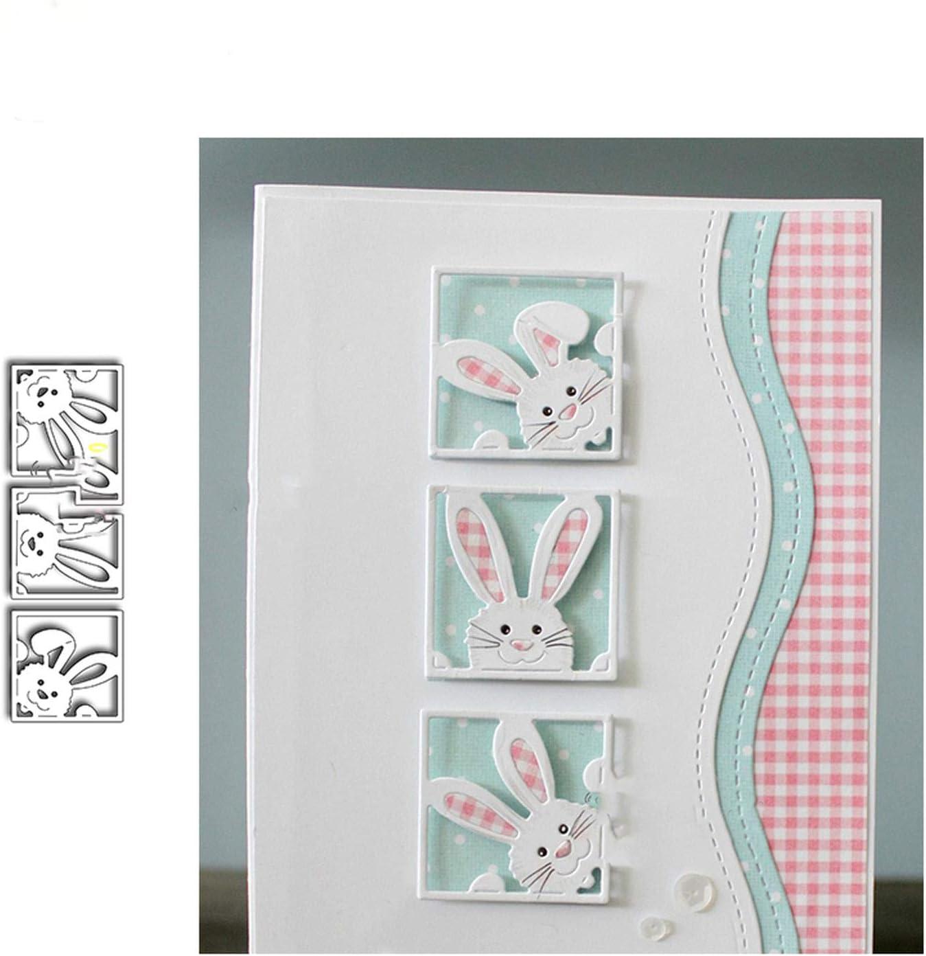 Metal Cutting Dies Cut Die Mold Cute Rabbit Frame Scrapbook Stencil DIY Craft